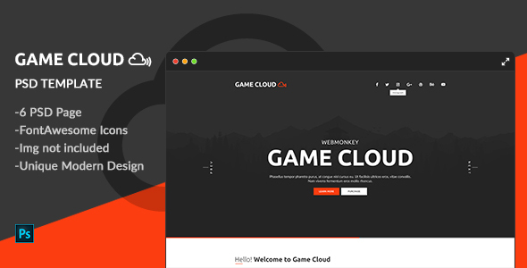 Game Cloud – One Page PSD Template