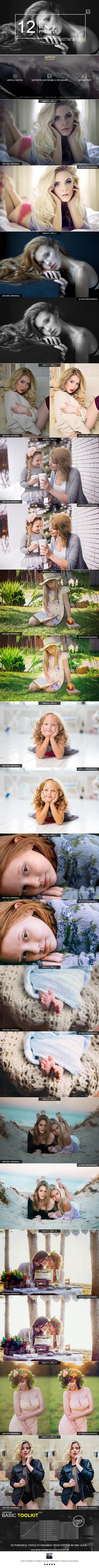 12 Pro Beauty Presets - Lightroom Presets Add-ons