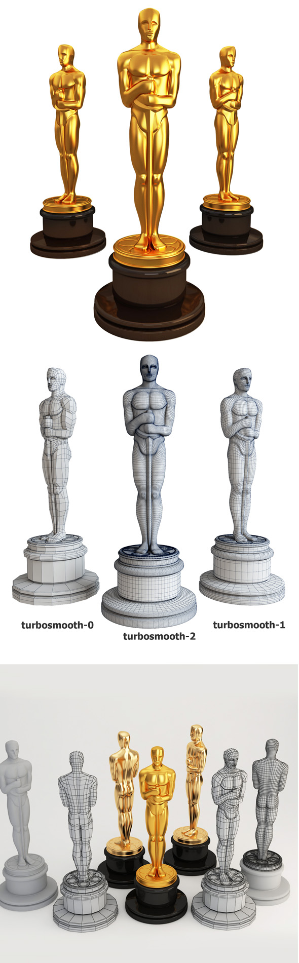 3d model Oscar statuette - 3DOcean Item for Sale