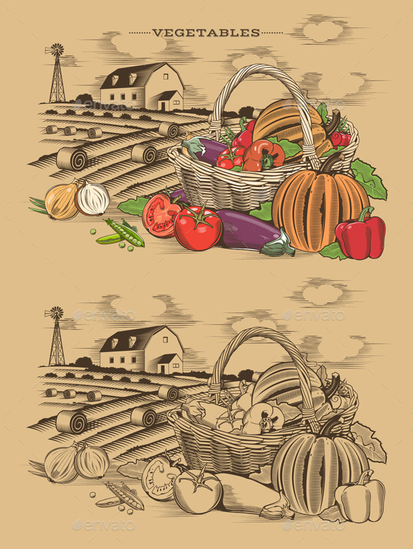 Vegetables Basket In Woodcut Style - Food Objects