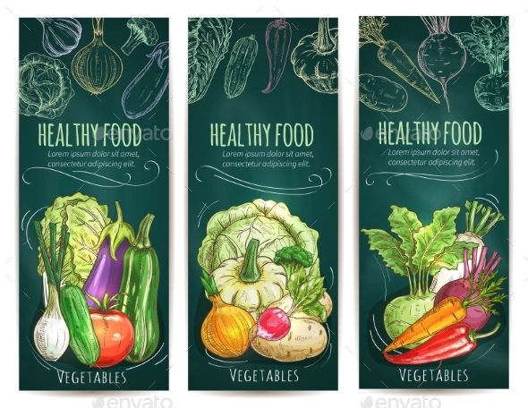 Healthy Vegetables Sketch Banners on Blackboard - Food Objects
