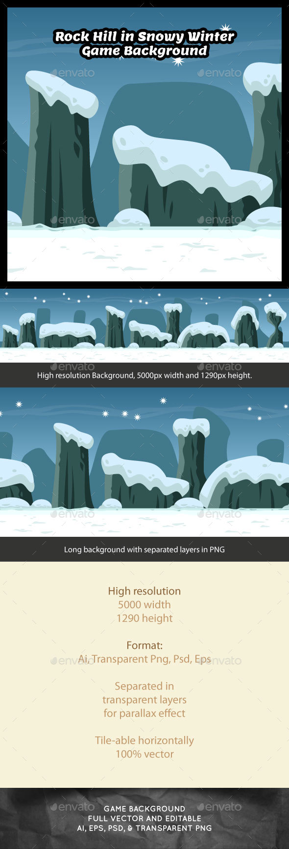 Rock Hill in Snowy Winter Game Background - Backgrounds Game Assets