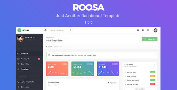 Roosa – Just Another Dashboard Template
