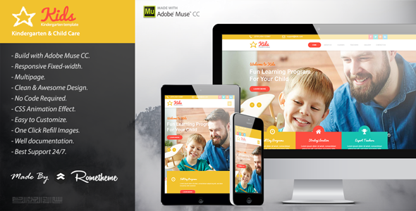 KIDS – Kindergarten and Child Care Muse Templates