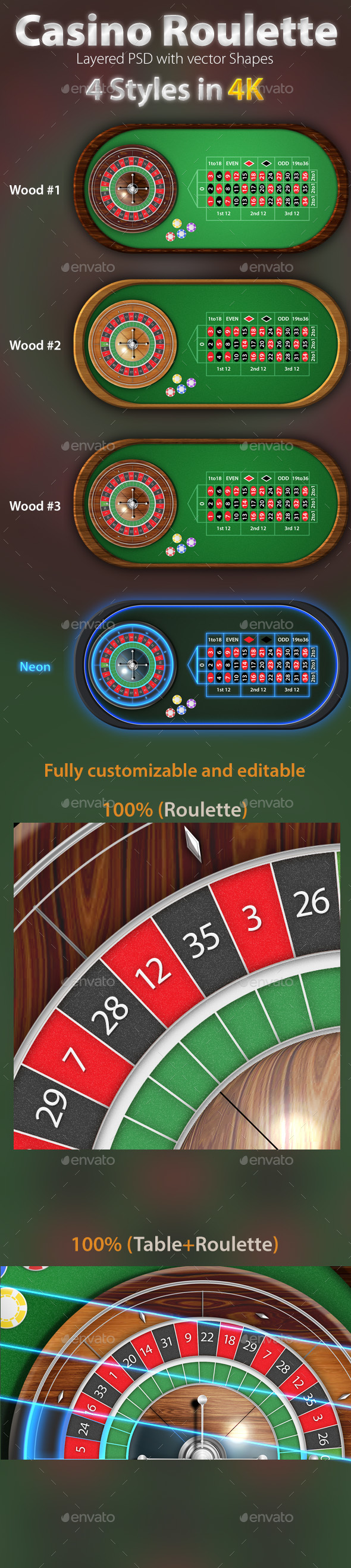 European Roulette Table Pack 4K - Game Kits Game Assets