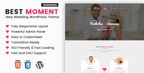 Best Moments - Modern Wedding WordPress Theme - Wedding WordPress