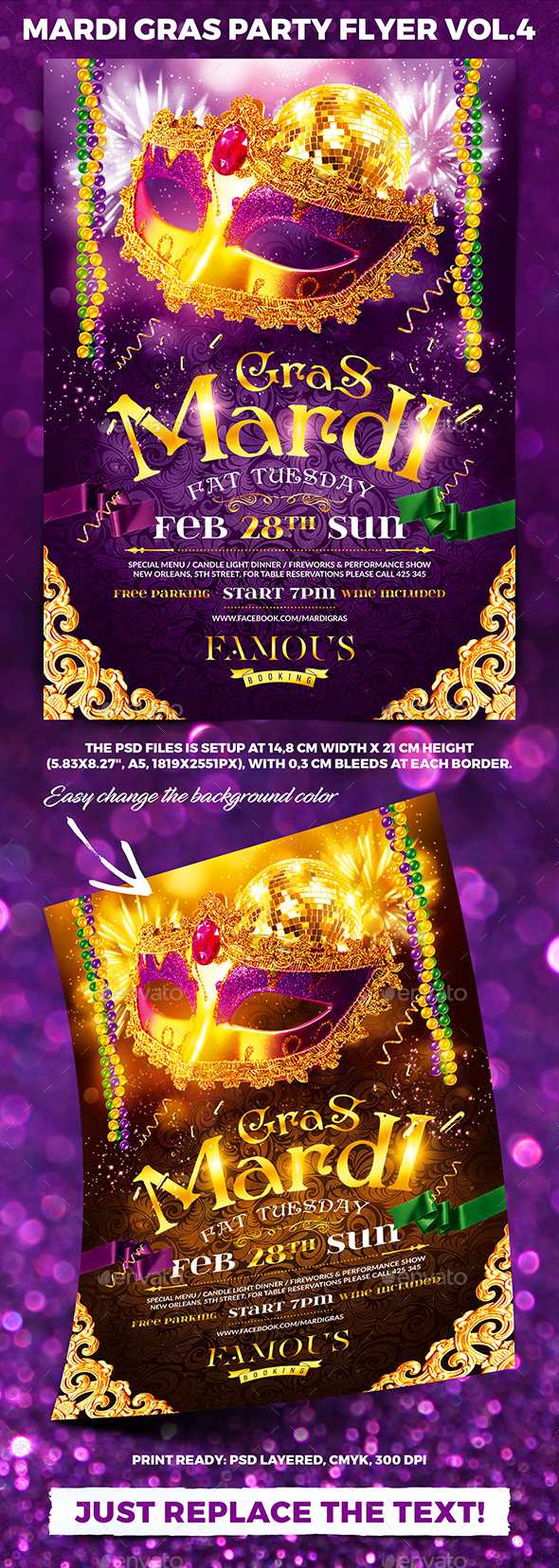 Mardi Gras Party Flyer vol.4 - Clubs & Parties Events