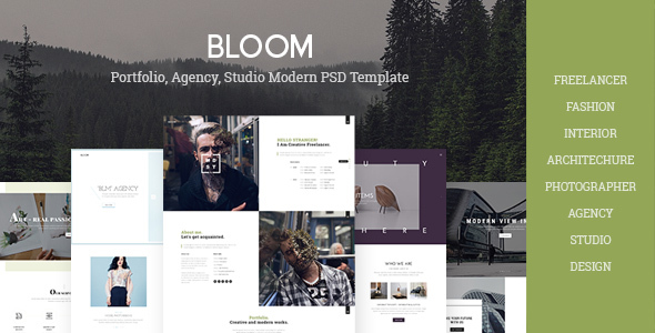 Bloom – Multi Purpose Design / Architecture / Interior / Portfolio PSD Template
