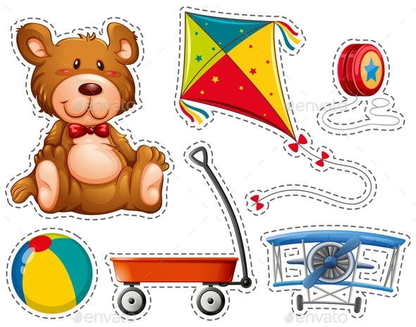 Sticker Set with Many Toys - Man-made Objects Objects