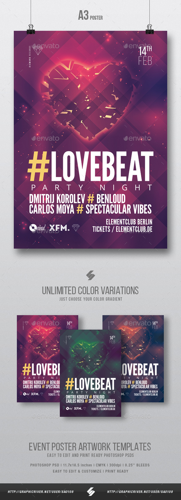 Love Beat vol2 - House Music Party Flyer / Poster Template A3 - Clubs & Parties Events