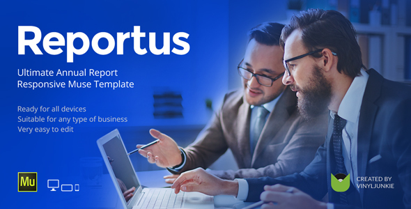 Reportus - Annual Report Responsive Muse Template - Corporate Muse Templates