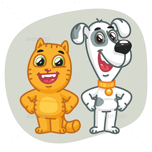 Cat and Dog Holding Paws at Waist - Animals Characters