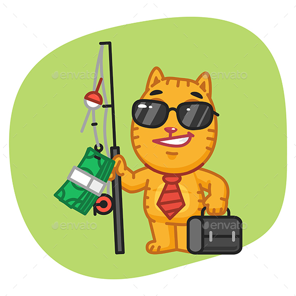 Cat Businessman Holding Fishing Rod with Money - Animals Characters