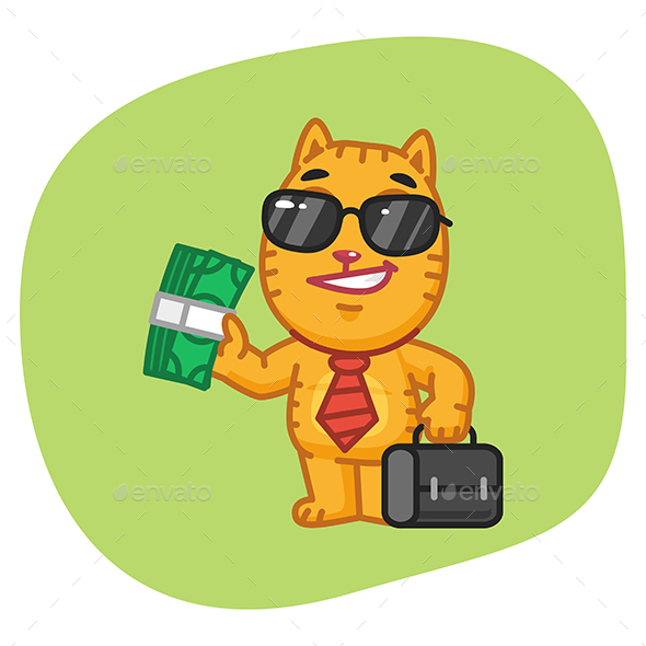 Cat Businessman Holding Suitcase and Money - Animals Characters