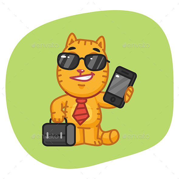 Cat Businessman Holding Suitcase and Phone - Animals Characters
