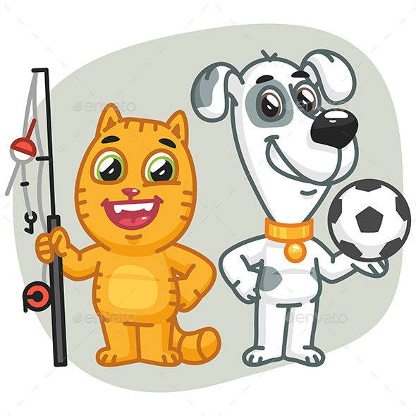 Cat Holding Big Fish Dog Holding Soccer Ball - Animals Characters