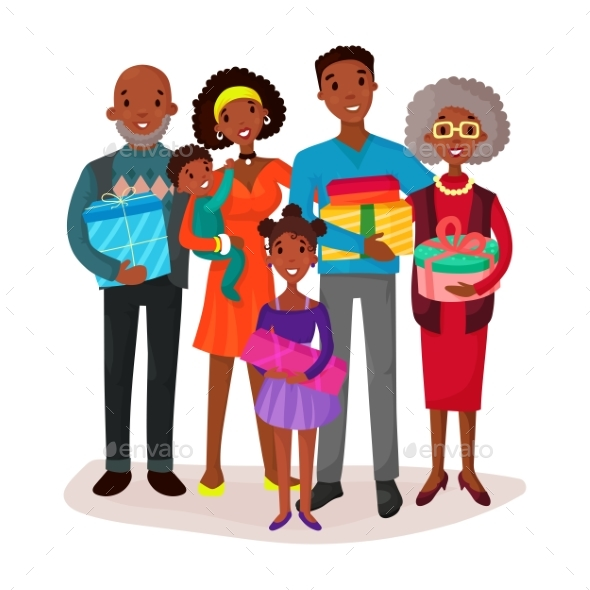 Black Family Holding Children and Gifts or Present - People Characters