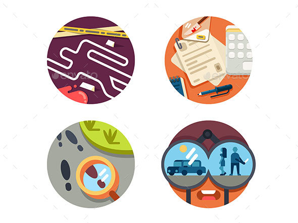 Detective Icon Set - Web Elements Vectors