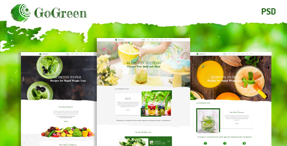 GoGreen Detox Water PSD Template