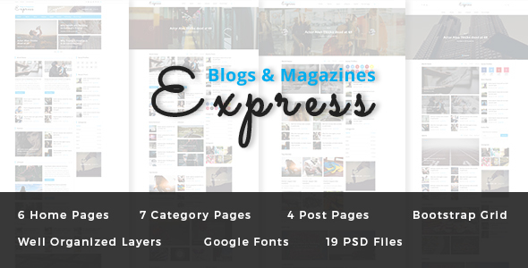 Express - Blog and Magazine PSD Template - PSD Templates