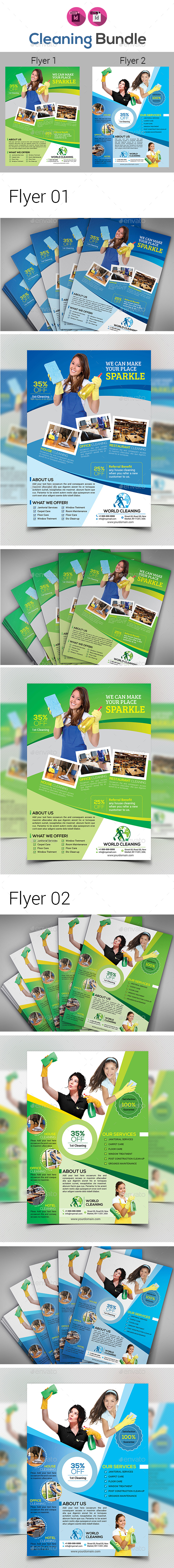 Cleaning Service Flyer Bundle V2 - Corporate Flyers