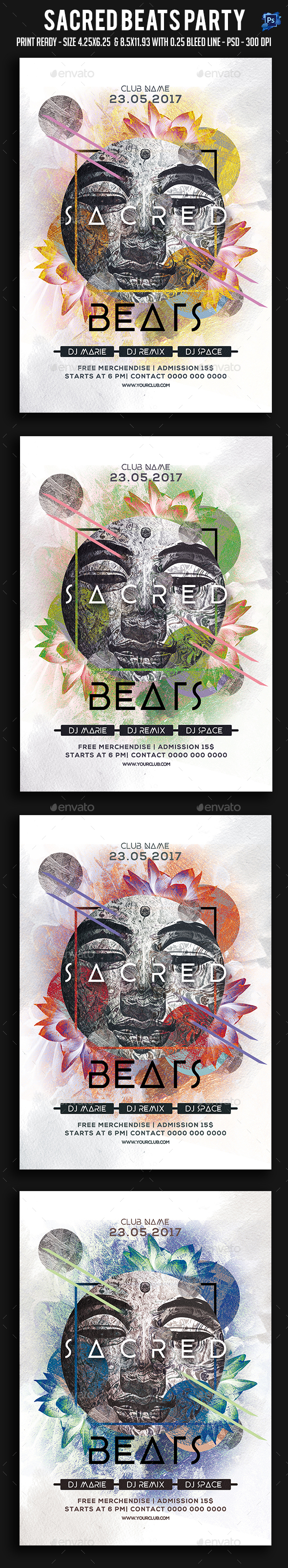 Sacred Beats Party Flyer - Clubs & Parties Events