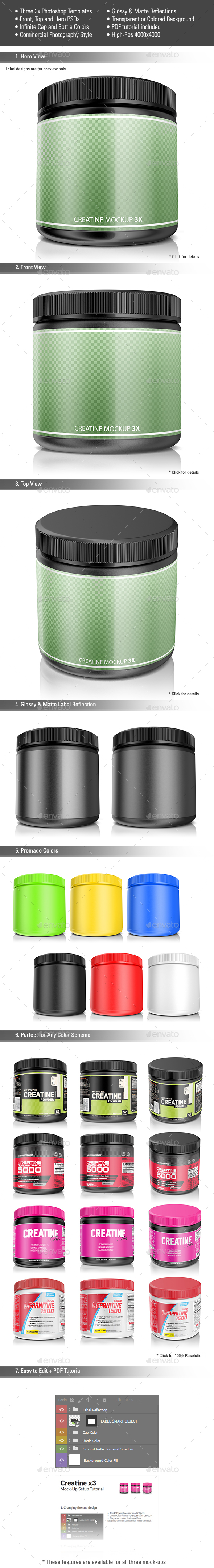 Creatine Mockup 3X Pack - Miscellaneous Packaging