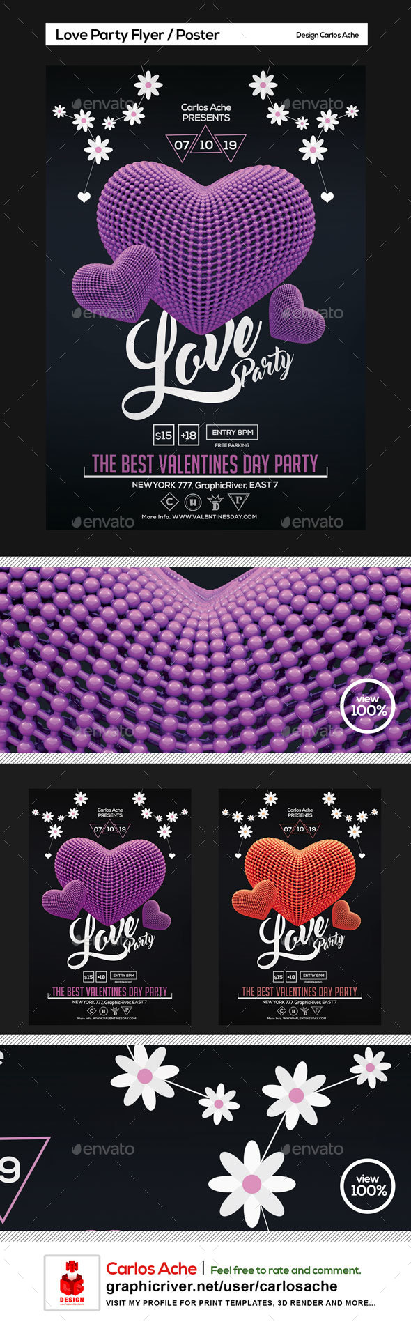 Love Party - Valentines Day Flyer and Poster Template - Holidays Events
