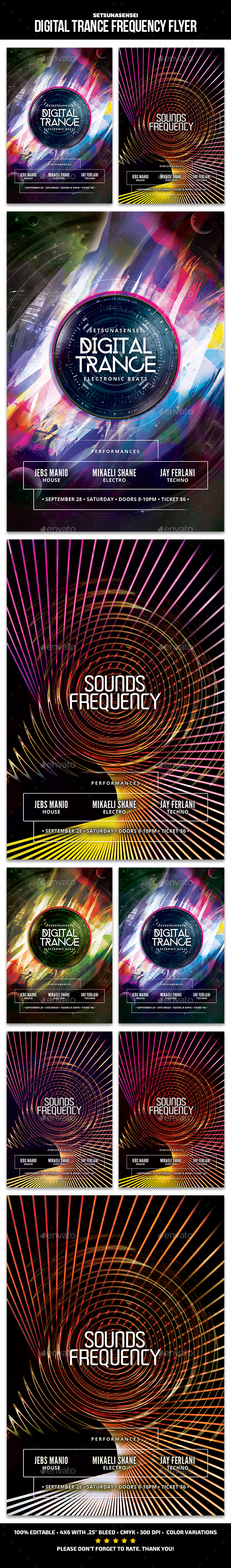 Digital Trance Frequency Flyer - Clubs & Parties Events