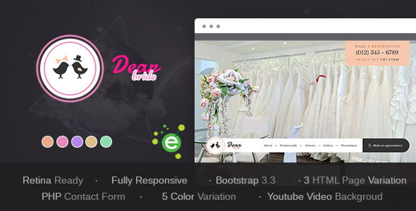 Dear Bride – One Page Wedding Salon HTML Template