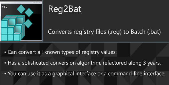 Reg2Bat - Convert registry files (.reg) to Batch (.bat) - CodeCanyon Item for Sale