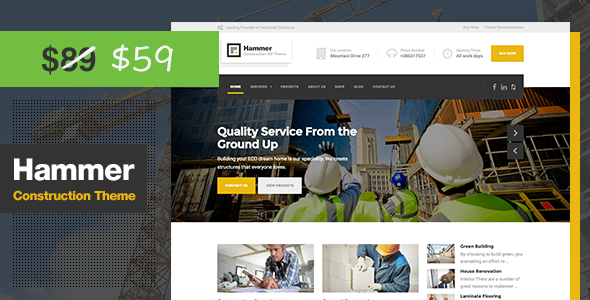 Hammer - Construction WordPress Theme - Business Corporate