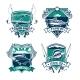 Fishing Sport Club Heraldic Badge Set Design - GraphicRiver Item for Sale