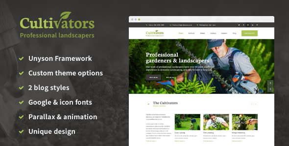 Cultivators - WordPress Gardening Design - Business Corporate