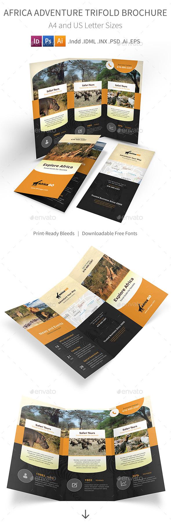Africa Adventure Trifold Brochure - Informational Brochures