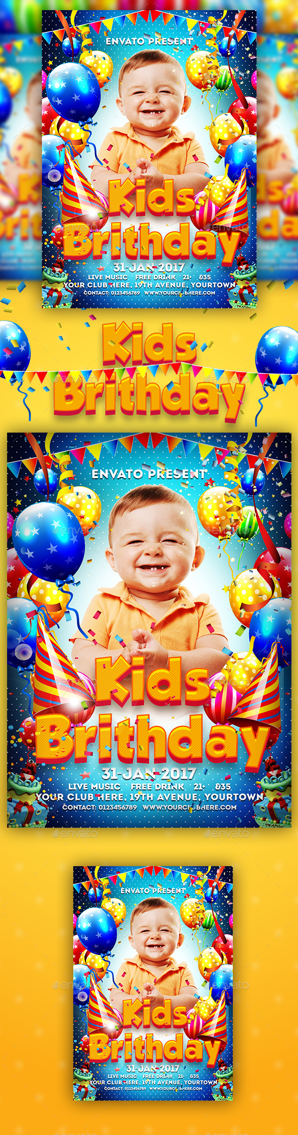 Birthday Kids Party Flyer - Clubs & Parties Events