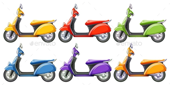 Scooters in Six Different Colors - Man-made Objects Objects