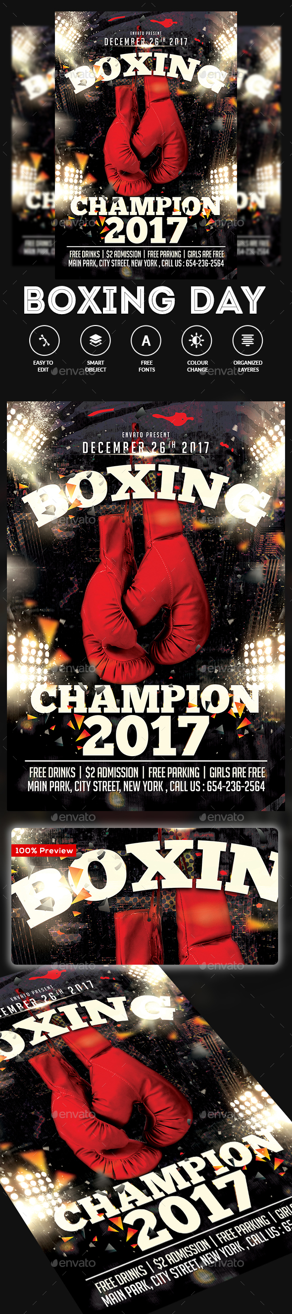 Boxing Flyer - Clubs & Parties Events
