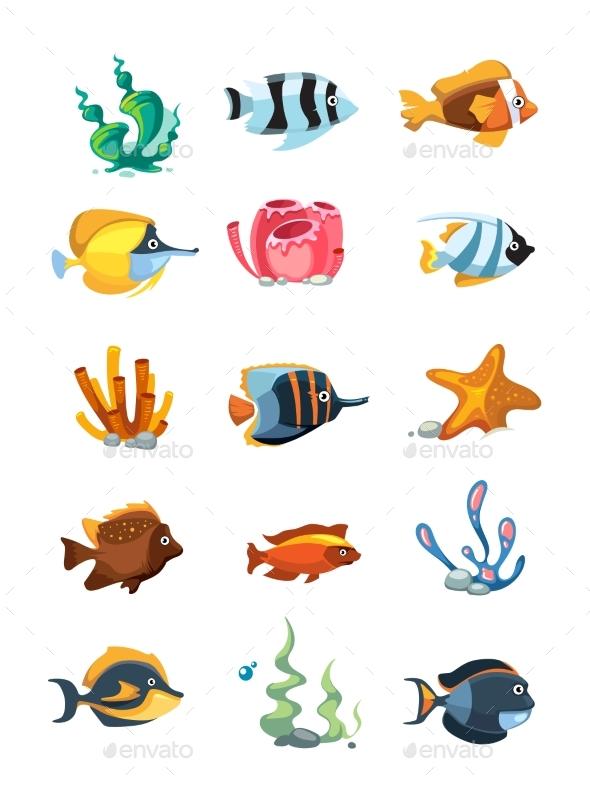 Cartoon Aquarium Decor Objects Underwater - Animals Characters