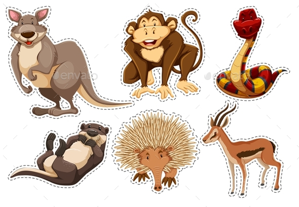 Sticker Set with Different Types of Animals - Animals Characters