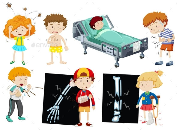 Children with Different Sickness - People Characters