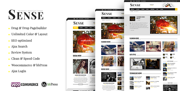 Sense - Responsive Blog Magazine and News Theme - News / Editorial Blog / Magazine