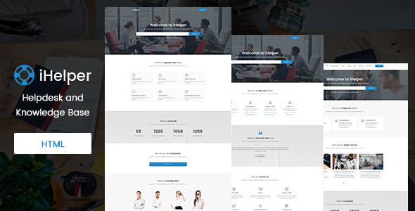 iHelper - Helpdesk and Knowledge Base Template HTML - Software Technology