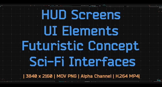 HUD Screens, UI Elements, Futuristic Concept Animations