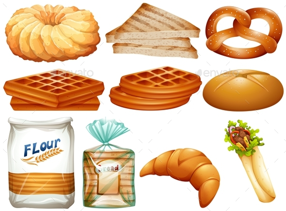 Different Kinds of Bread and Desserts - Food Objects