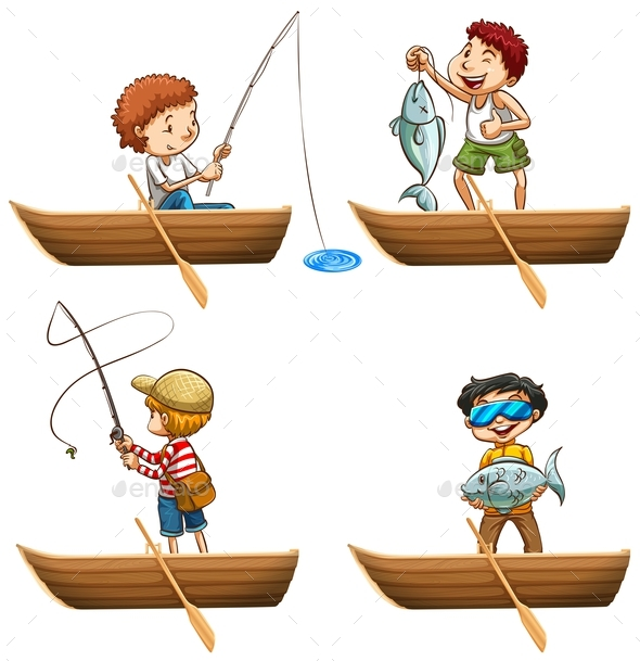 People in Rowboat Fishing - People Characters