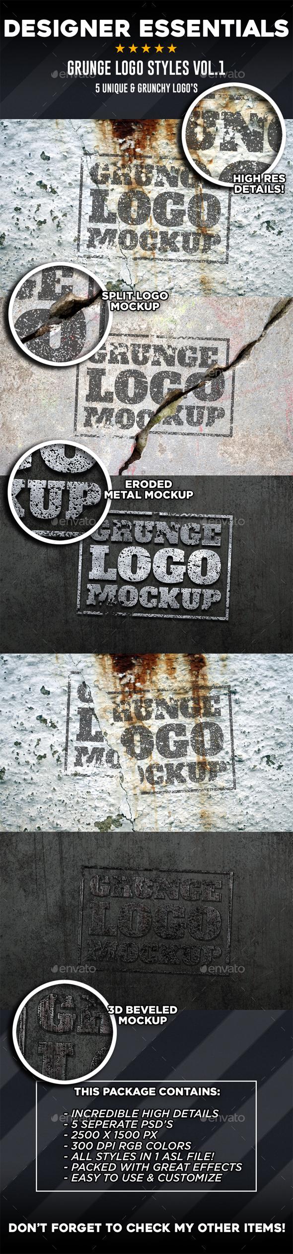 5 Grunge Logo Mockups Vol.1 - Logo Product Mock-Ups