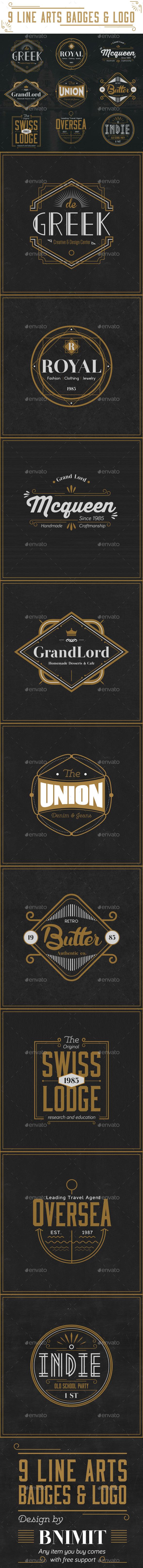 9 Line Arts Badges & Logo - Badges & Stickers Web Elements