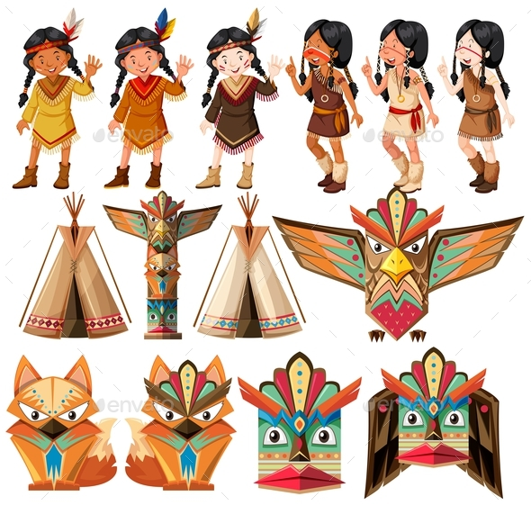 Native American Indians and Traditional Craft Set - People Characters