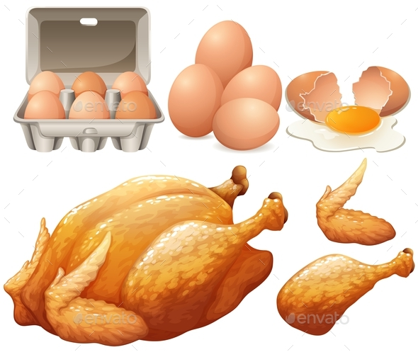 Fried Chicken and Fresh Eggs - Food Objects